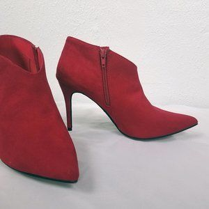 Anne Michelle Women's Red Suede Ankle Boots Shoes